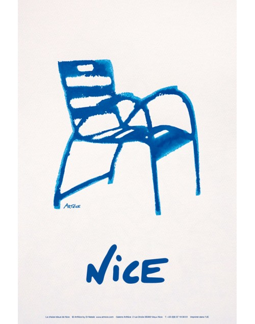 affiche illustration la chaise bleue nice c te d 39 azur. Black Bedroom Furniture Sets. Home Design Ideas
