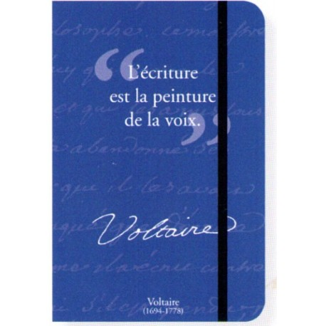 petit carnet de notes entre guillemets avec citation de voltaire. Black Bedroom Furniture Sets. Home Design Ideas