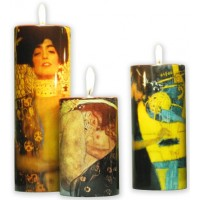 Set of 3 ceramic candlesticks Gustav Klimt