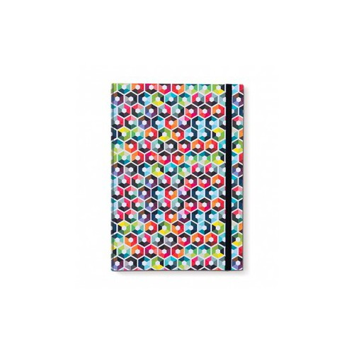 Carnet de note A5 original coloré design motif hexagon