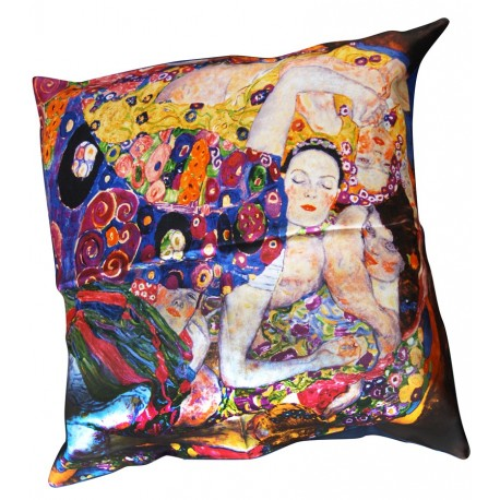 coussin en soie 50x50cm avec impression oeuvre de klimt l 39 arbre. Black Bedroom Furniture Sets. Home Design Ideas