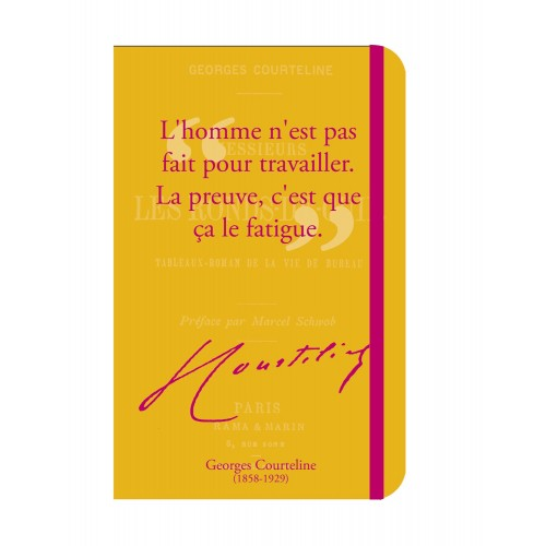 Grand et beau carnet de notes avec citation de Georges Courteline