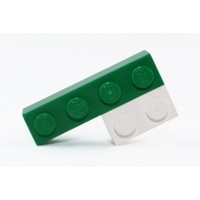 Lego brooch by the french creator Sno0oze green and white