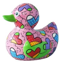 Pink duck figurine collector by Roméro Britto