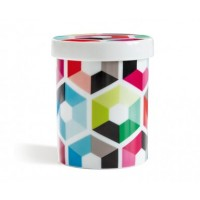 Pot en porcelaine motif hexagon
