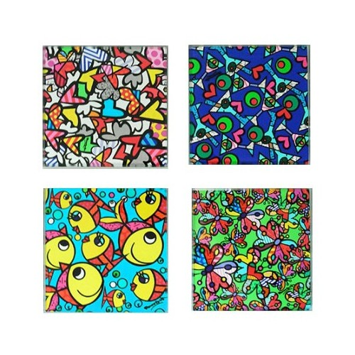 4 glass coasters by the Brazilian artist Romero BRITTO