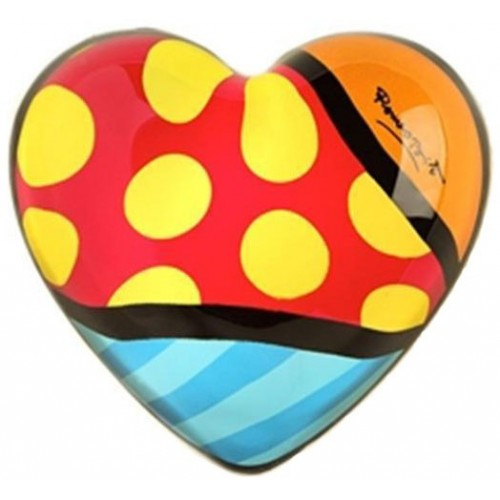 Glass Heart Paper weight by Romero Britto - Yellow dots red background