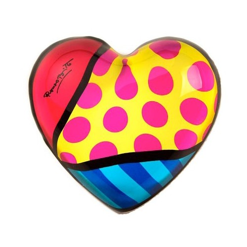 Glass Heart Paper weight by Romero Britto - Red dots yellow background