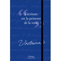 Small notebook with a quote of Voltaire