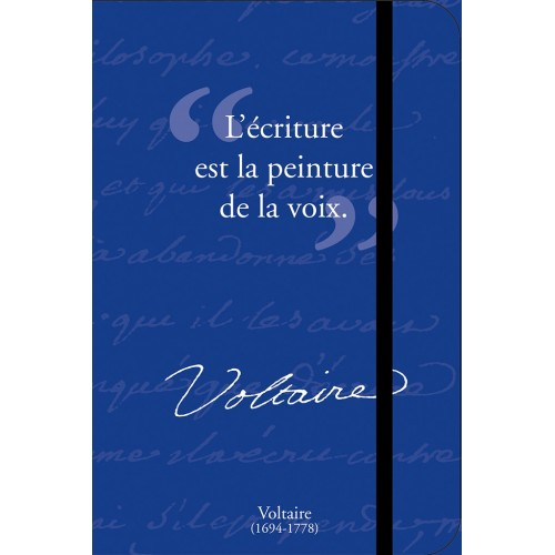 Petit carnet de notes avec citation de Voltaire
