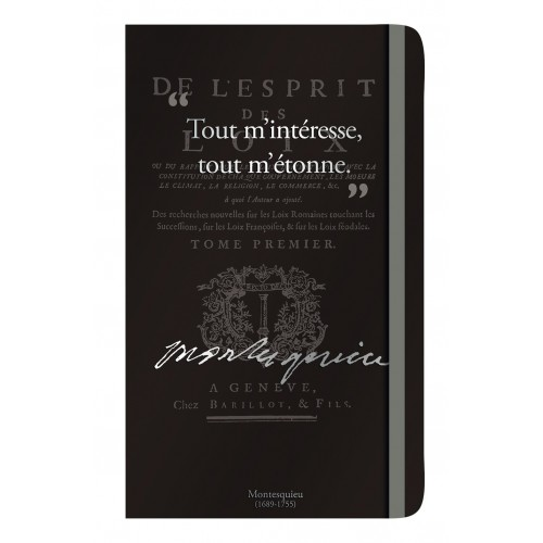 Notebook with a quote of Montesquieu
