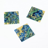 Set of 3 Coaster Irises by Van Gogh