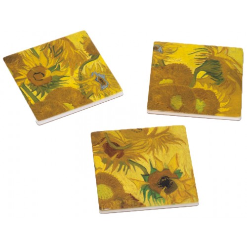 Set of 3 Coaster Sunflowers by Van Gogh