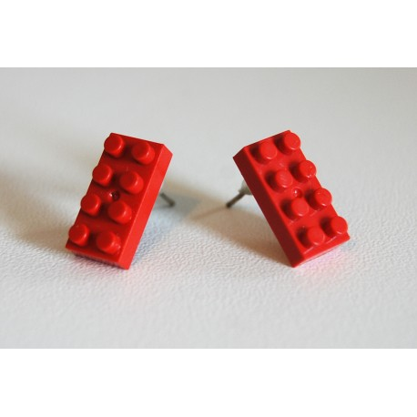 Lego earings red by the french creator Sno0oze