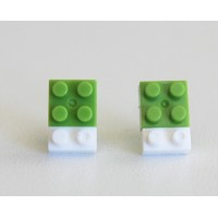 Lego earings green and white