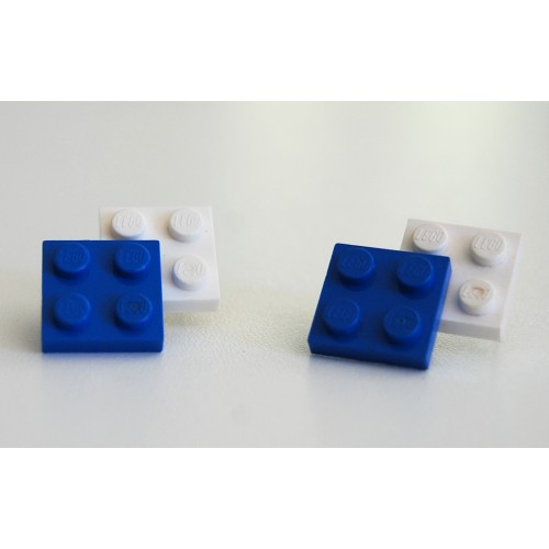 Lego earings blue and white