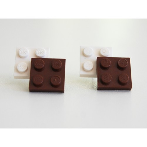 Lego earings brown and white