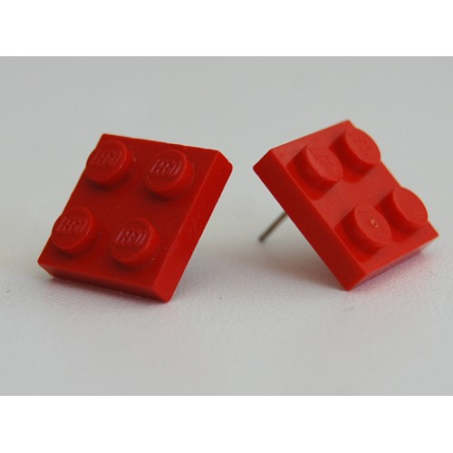 Lego earings red