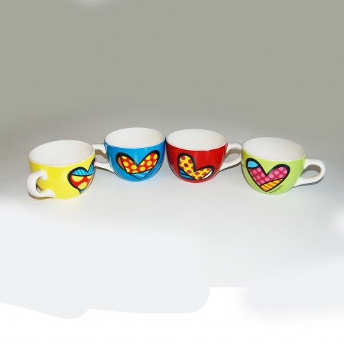 Lot de 4 mugs capuccino de Romero Britto
