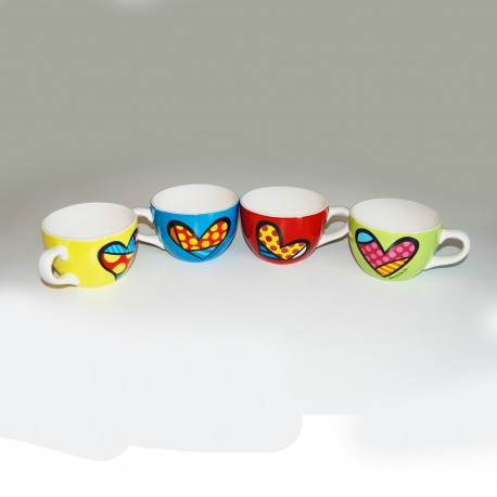 Romero Britto Set of 4 Mug Capuccino Heart