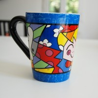 Romero Britto Ceramic Mug The hug blue