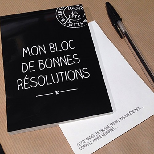 Writing pad A6 Good resolutions in french.. Editions Dans Sa Tête