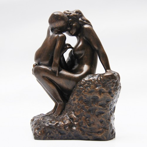 Sculpture de collection patine bronze mère avec son enfant