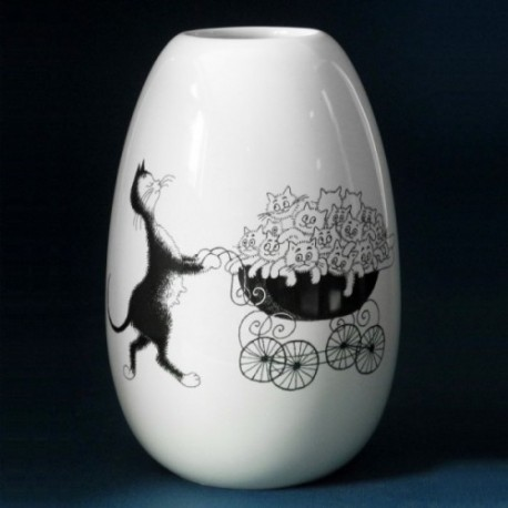 Deco vase The Pram by the french illustrator Dubout