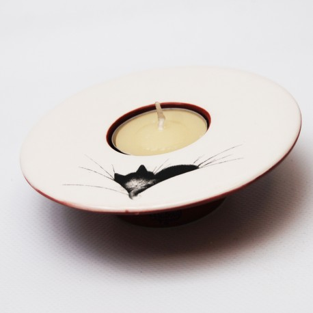 Tea light holder Cat napby french artist Dubout