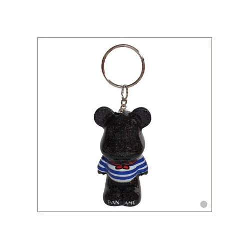 "Porte clés Funky Bear ""Paname Glitter black"", concept by O.A"