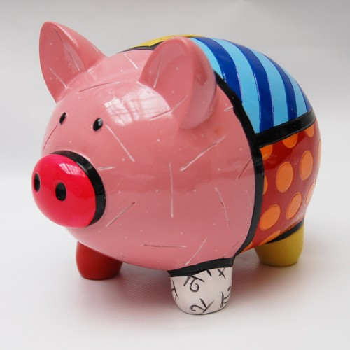 Tirelire cochon colorée par Britto
