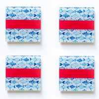 Set of 4 Glass coasters Fish