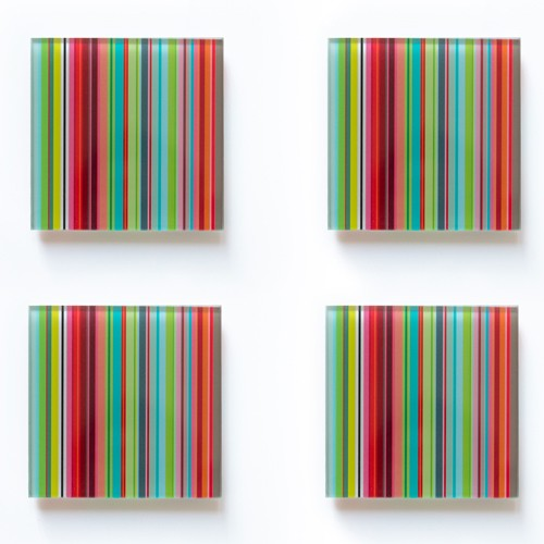 Set of 4 Glass coasters Stripes