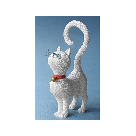 Fun sculpture of cat What's for Dinner? white by the french illustrator Dubout