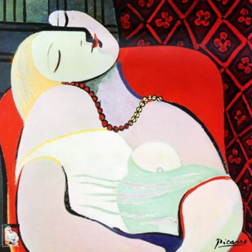 Square scarf of silk after a work of Picasso The Dream Marie-Thérèse