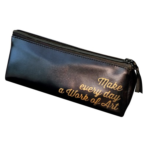 Black triangular Pencil case with a quote