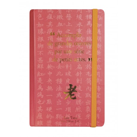Small notebook with a quote of Lao-Tseu