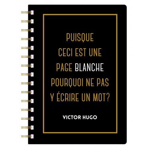 A5 spiral notebook with a quote in french from Diderot