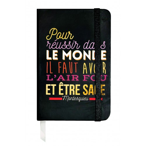 Small notebook with a quote in french from Montesquieu