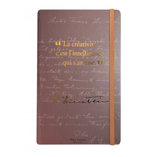Carnet de notes avec citation d'Albert Einstein