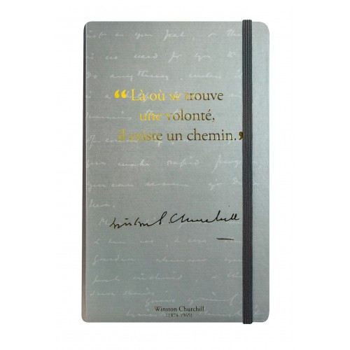 Notebook with a quote from Winston Churchill