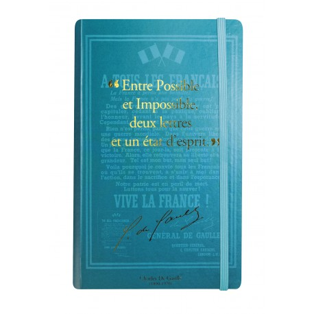 Carnet de notes avec citation de Charles de Gaulle