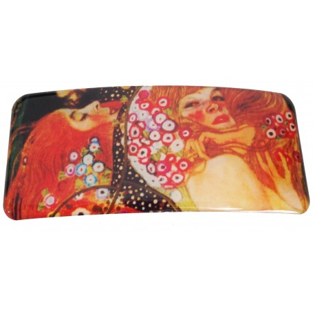 "hair clip with printed artwok ""the kiss"" from famous artist Gustave Klimt"