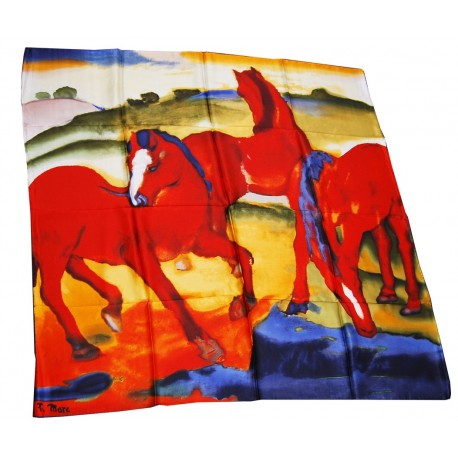 beau foulard original offrir en soie illustration cheval et chevaux rouge. Black Bedroom Furniture Sets. Home Design Ideas