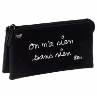 Pencil School case black and white By French artist ben with French writing nothing without nothing
