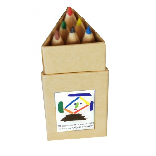 6 colors pencils for children illustred by Picasso artwork.