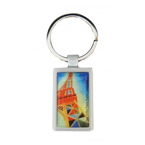 Keychain with printed artwork Delaunay Eiffel tower