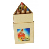 6 colors pencils for children illustred by Delaunay artwork.