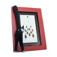 Photo frame of fun sculpture cat by the french illustrator Dubout