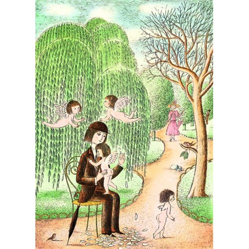 Picture poster from french romantic artist Peynet she loves me a little, more, lots of...